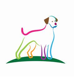 Colorful loyal dog line art vector