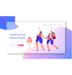 couple character love travel landing page template vector image