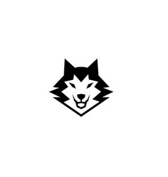 creative black wolf head logo vector image