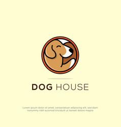 creative dog house logo design in circle can use vector image