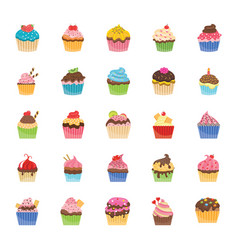 Cupcakes flat icons vector