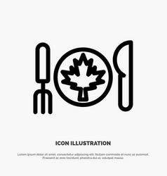Dinner autumn canada leaf line icon vector