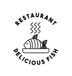 dish fish restaurant menu vector image