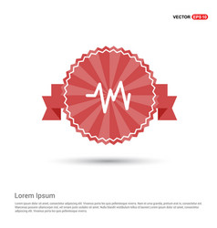Ecg icon - red ribbon banner vector