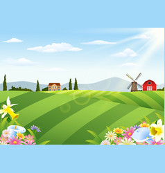 farm landscape with barn and windmill vector image