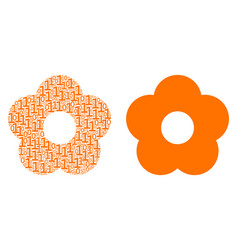 Flower collage of binary digits vector