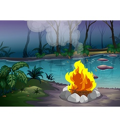 Forest and fire vector image