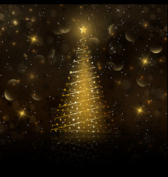 golden christmas tree background vector image