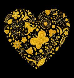 Golden floral valentines heart vector