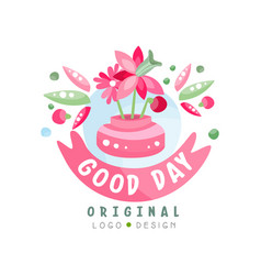 Good day logo original design element can be used vector