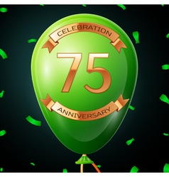 Green balloon with golden inscription seventy five vector image