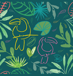 green jungle tucan seamless pattern background vector image