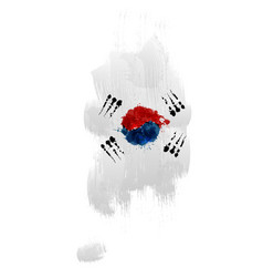 grunge map south korea with south korean flag vector image