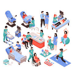 Gynecology and obstetrics isometric set vector