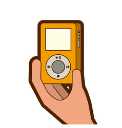 Hand holding mp player gadget display modern vector