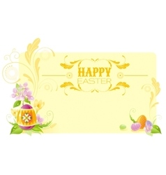 Happy easter banner border spring landscape - vector