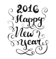 Happy new year card black and white vector image
