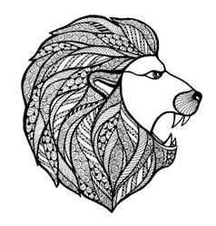 Head roaring lion style entangle vector