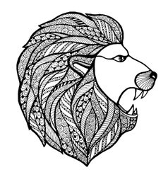 Head roaring lion style zentangle vector