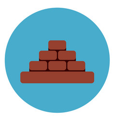 Heap of brick blocks icon web button on round blue vector