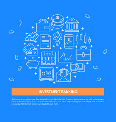 investment banking concept banner in line style vector image