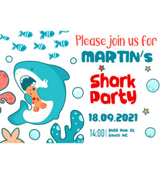 invitation childrens holiday cute shark sea fish vector image