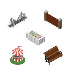isometric city set of bridge barrier sitting and vector image