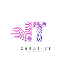 it i t zebra lines letter logo design with vector image