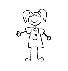 Kid girl draw vector image