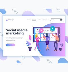 Landing page template social media marketing vector