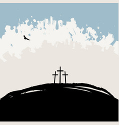Landscape with mount calvary and three crosses vector
