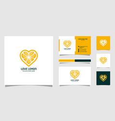 lemon heart logo designs vector image