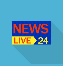 live news 24 logo flat style vector image
