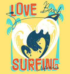 Love surfing typography for t shirt design vector