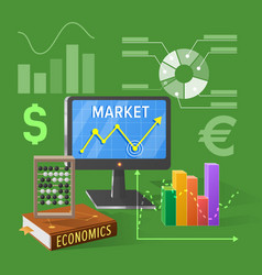Market and economics cartoon on green vector