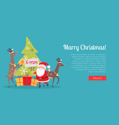 Marry christmas web banner presents with santa vector