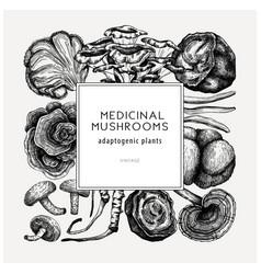 Medicinal mushroom square design hand-sketched vector