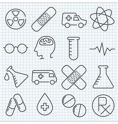 Medicine thin line icons set vector
