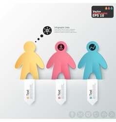 Modern infographics options banner with paper men vector