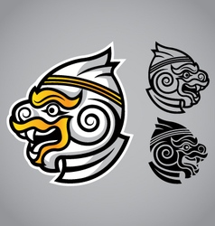 Monkey head linethai emblem logo vector