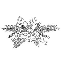 monochrome contour with flowers bunch floral vector image