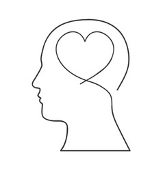 Monochrome silhouette of human head with heart in vector