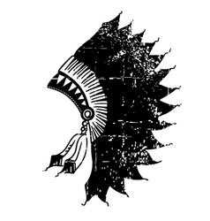 Native american indian headdress vintage black vector
