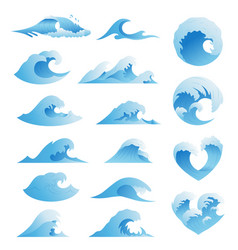 Ocean waves collection sea storm wave isolated vector
