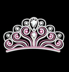pink diadem feminine crown with jewels vector image