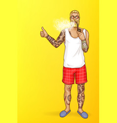 pop art tattooed bearded man smokes vector image