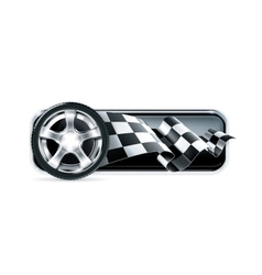 Racing banner with car wheel vector