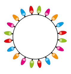 Rounded decorate christmas lights design vector