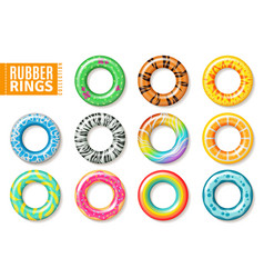 rubber rings swimming inflatable kids toys float vector image