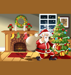 Santa claus carrying christmas presents vector